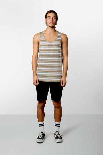 EVERYDAY STRIPE SINGLET DUSTED OLIVE