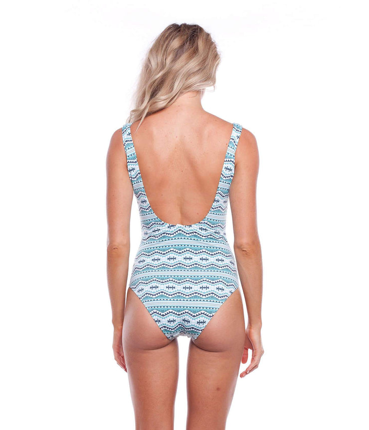 MEXICALI LACE UP ONE PIECE AZURE