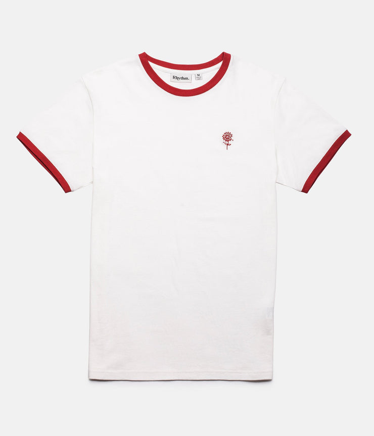 RHYTHM RINGER T-SHIRT WHITE / RED FRONT