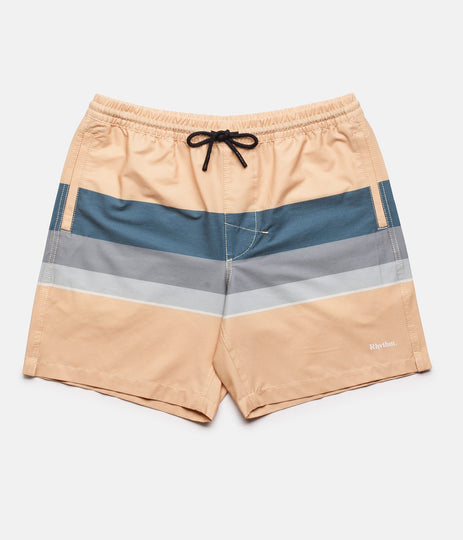 RHYTHM RETRO STRIPE BEACH SHORT PEACH FRONT