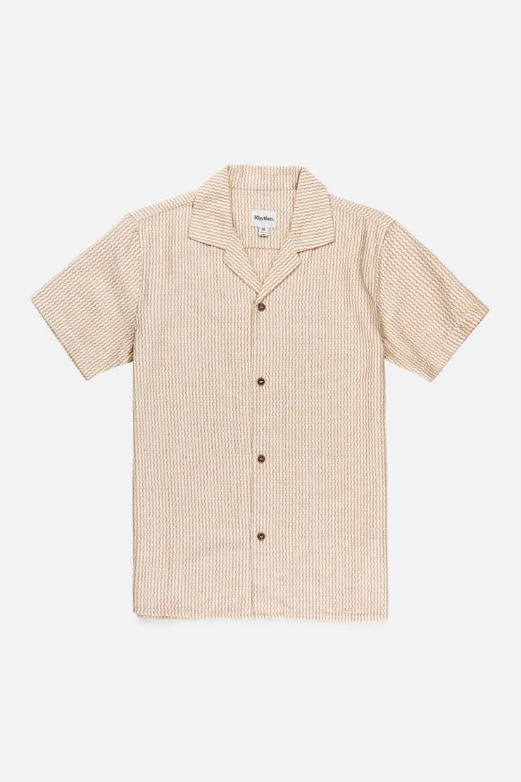 VACATION STRIPE SS SHIRT MUSTARD