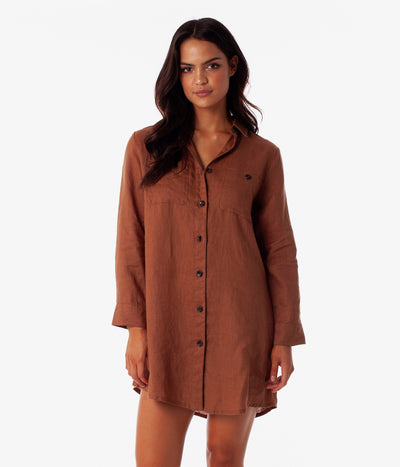 MARBELLA LONG SLEEVE DRESS CAROB