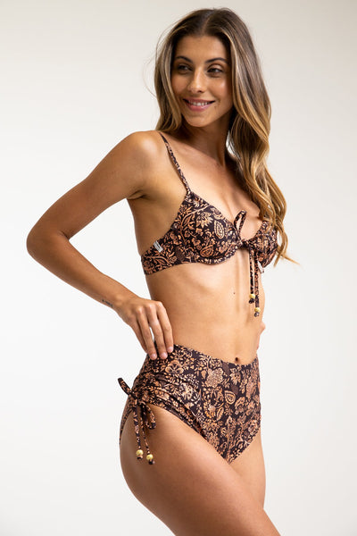Boheme Tie Front Underwire Top Coffee