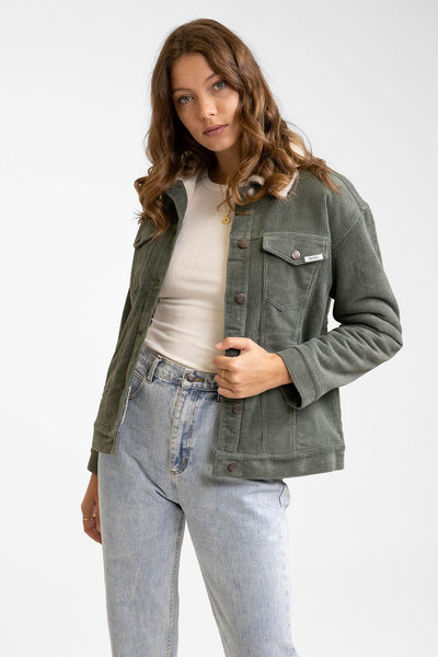 Stevie Cordoury Sherpa Lined Jacket Forest