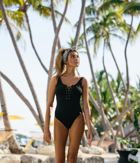 SUNCHASER LACE UP ONE PIECE BLACK