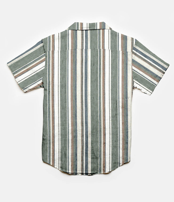 Rhythm Vacation Stripe SS Shirt Olive Back
