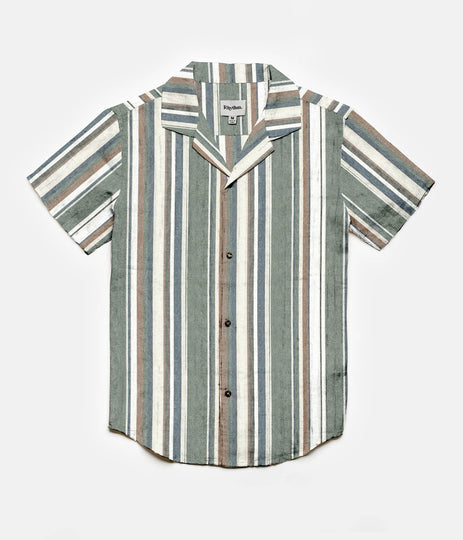 Rhythm Vacation Stripe SS Shirt Olive Front