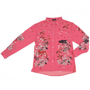 Blush wolf print silk shirt