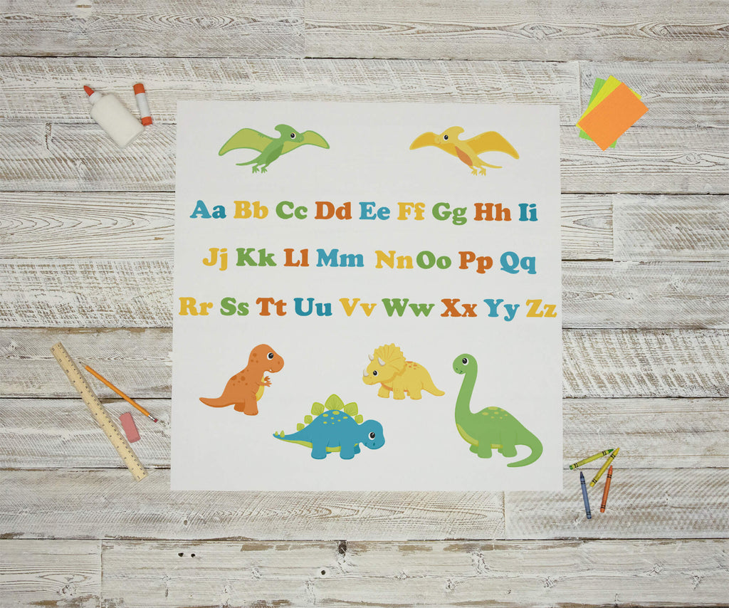 """Boy's Baby Dinosaurs and Alphabet"" Peel & Stick Educational Wall Decals"