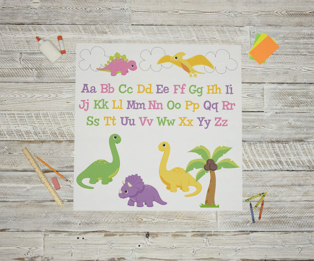 """Girl's Baby Dinosaurs and Alphabet"" Peel & Stick Educational Wall Decals"
