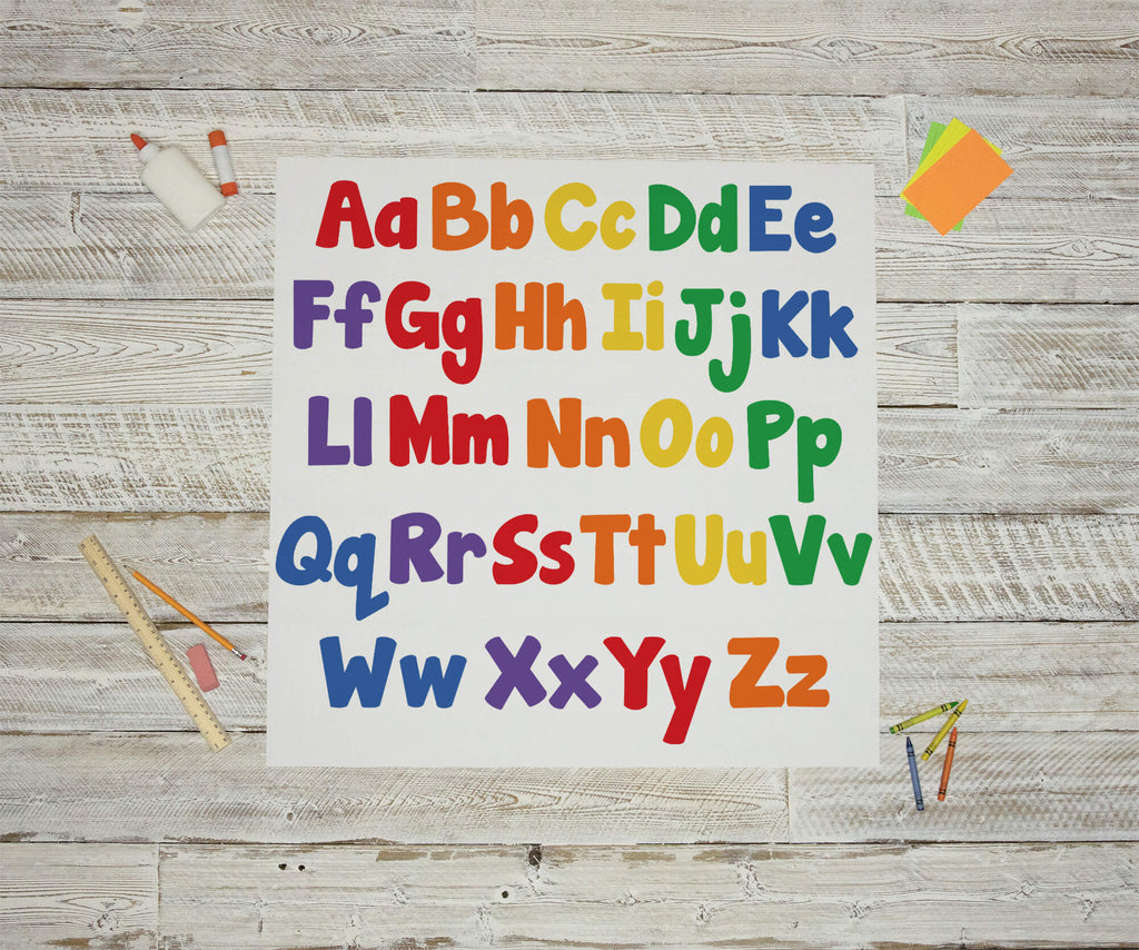 """Colorful Uppercase/Lowercase ABCs"" Peel & Stick Educational Wall Decals"
