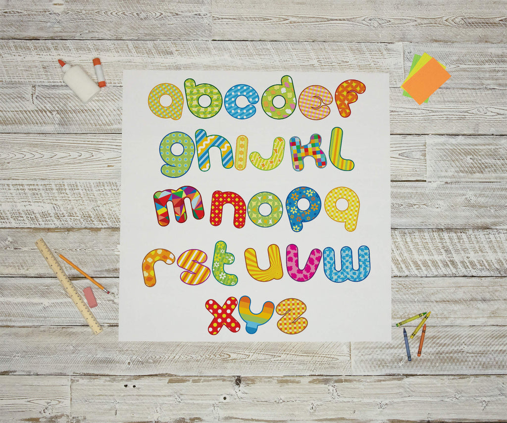 """Designer Back To School Alphabet"" Peel & Stick Educational Wall Decals"
