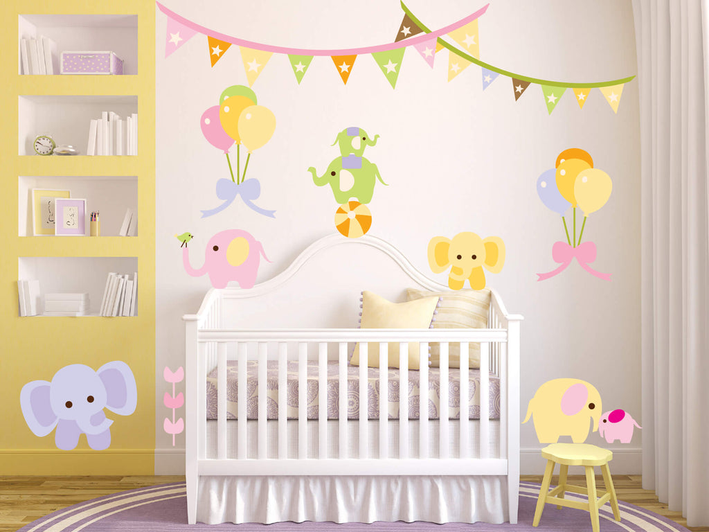 Elephant Circus! Baby Animal Wall Decals