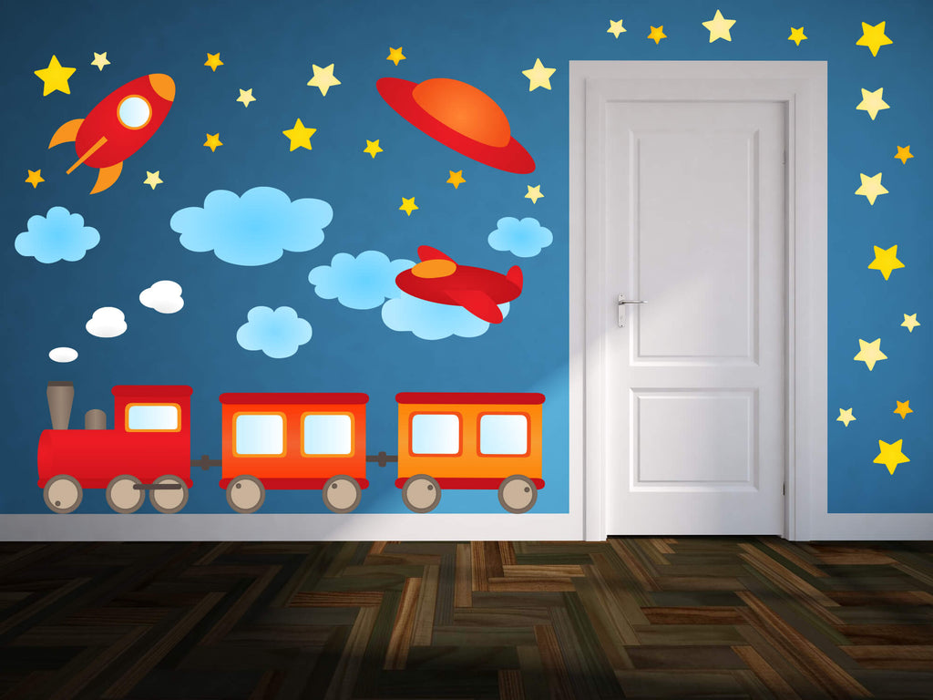 Trains, Planes, and Spaceships Transportation Wall Decals