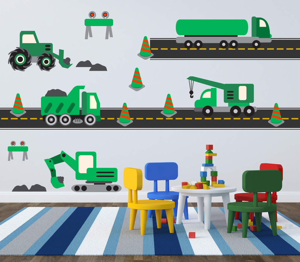 Green Hard Hat Area! Transportation Nursery Wall Decals
