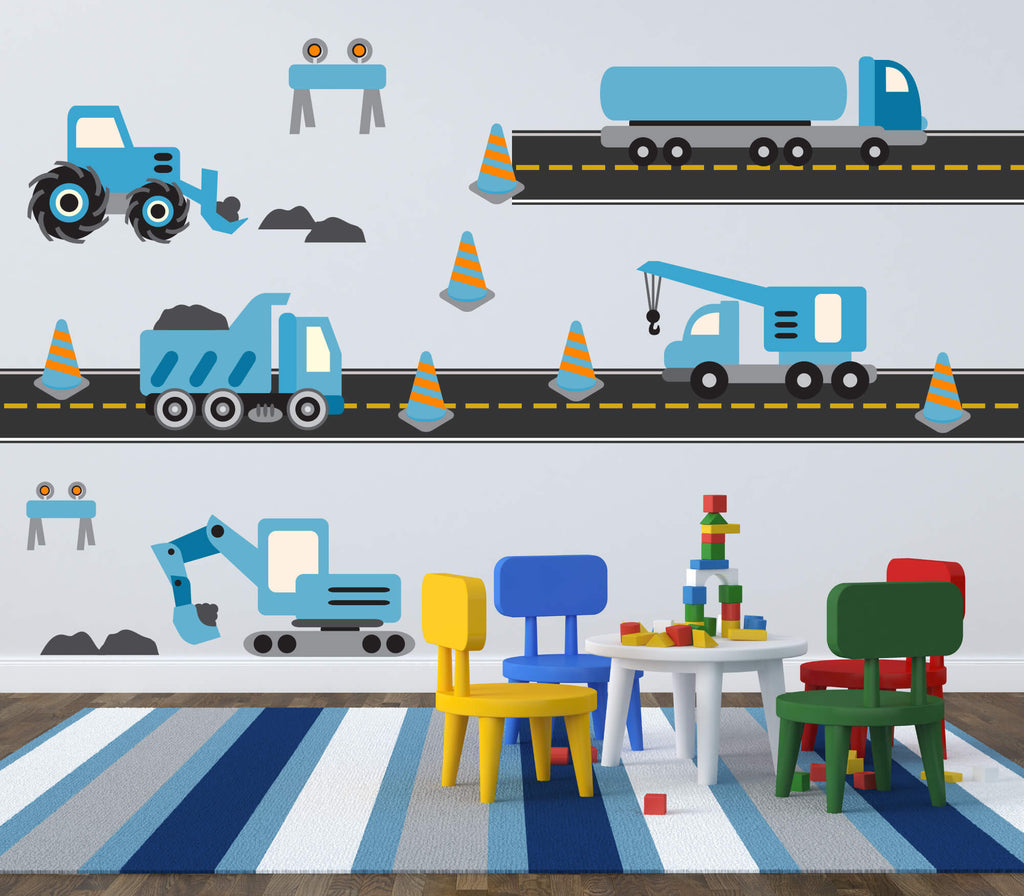 Baby Blue Trucks! Transportation Nursery Wall Decals