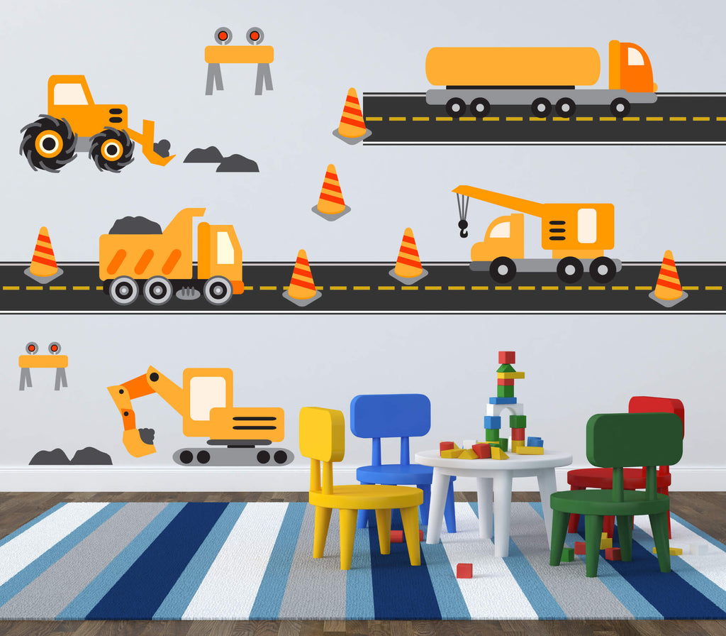 Hard Hat Construction Area! Transportation Wall Decals