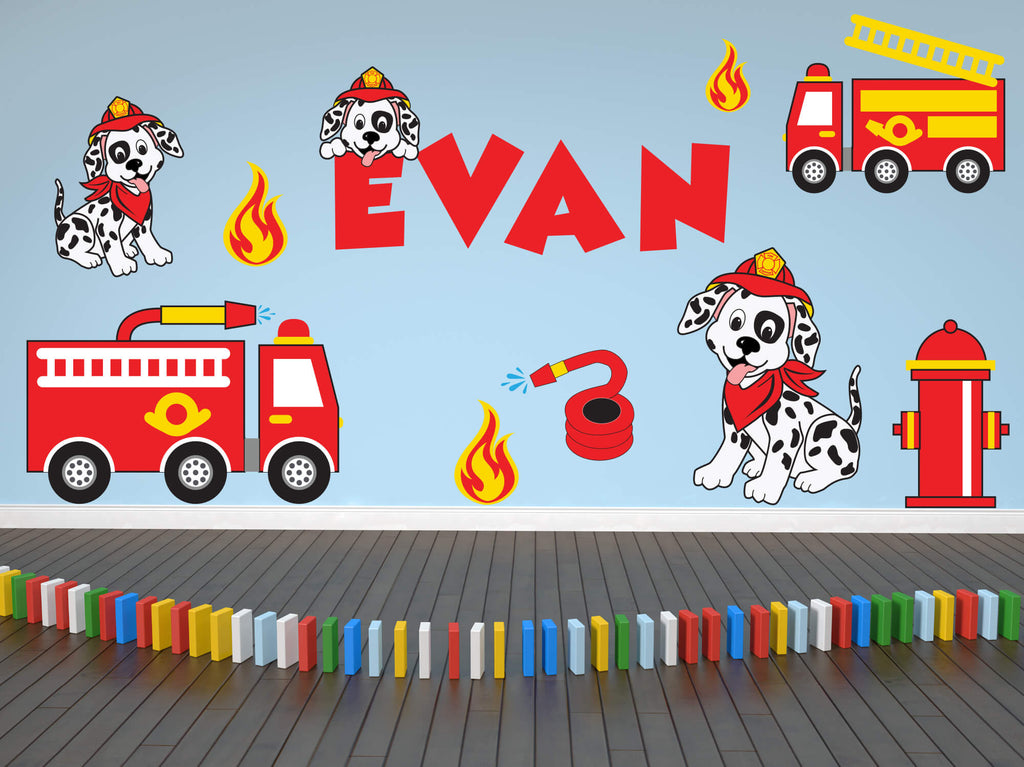 Firefighting Friends! Children's Truck Wall Decals