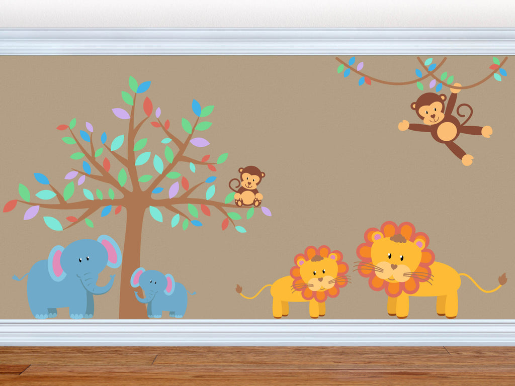 Jungle Pastel Pack! Children's Animal Safari Wall Decals