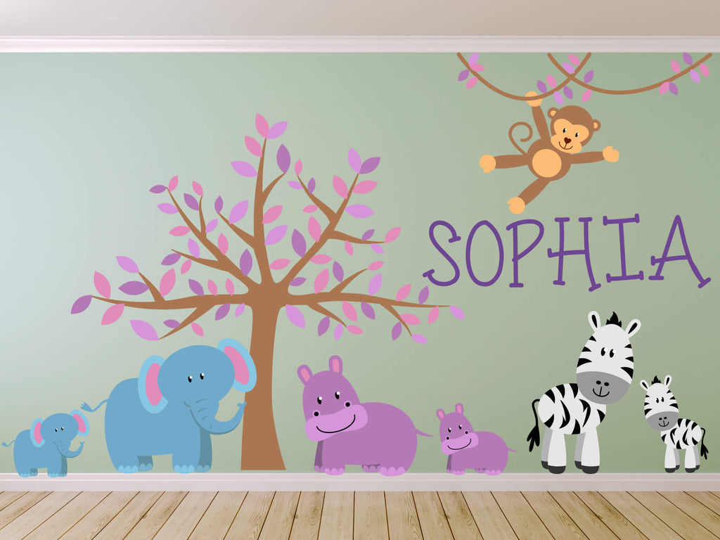 Pretty in Pink Jungle! Animal Safari Wall Decals