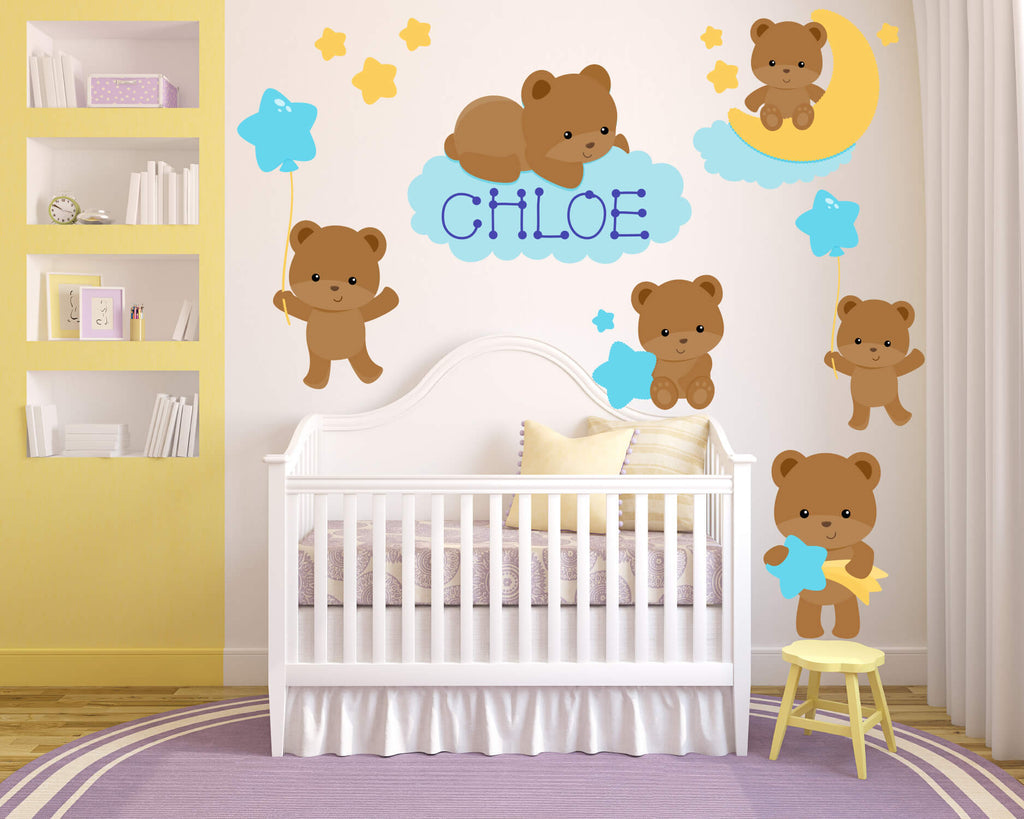 Sweet Dream Teddy Bears Animal Nursery Wall Decals
