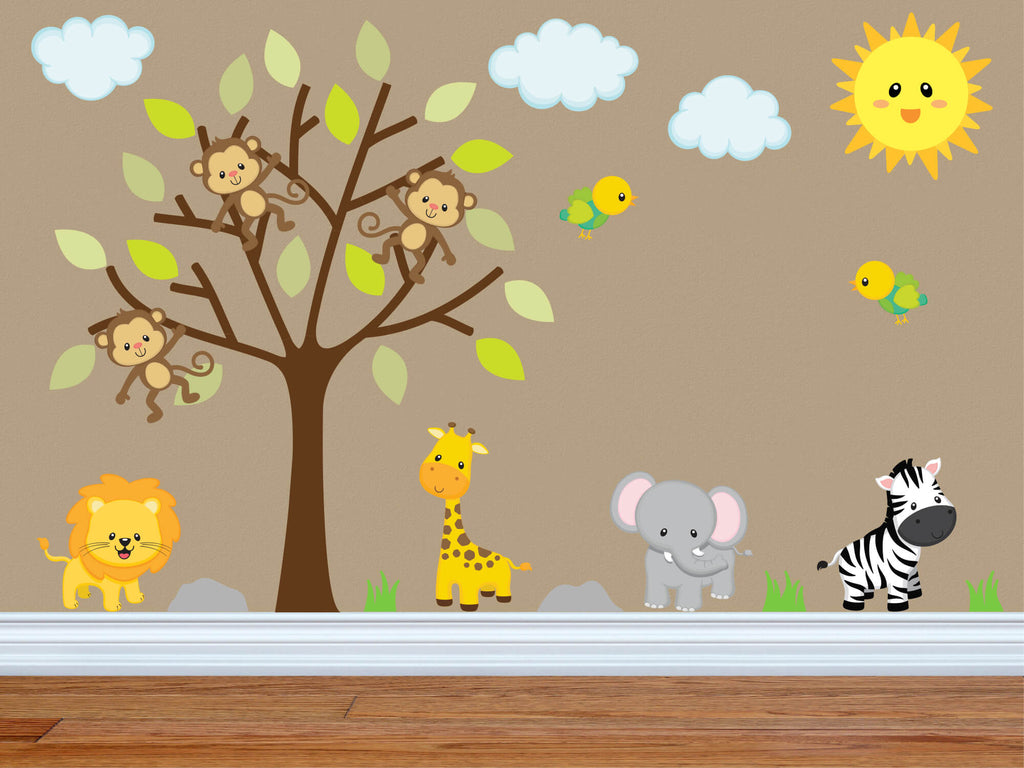 Swinging in For Some Fun! Jungle Nursery Wall Decals