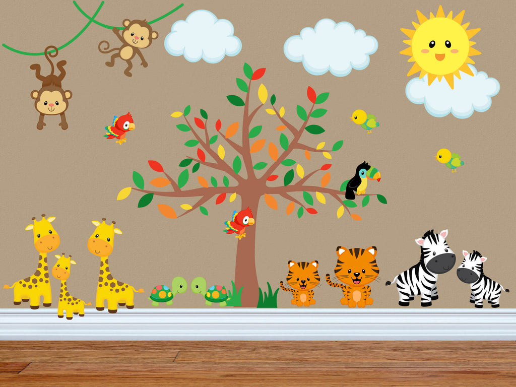 The Gang's All Here! Jungle Animal Nursery Wall Decals