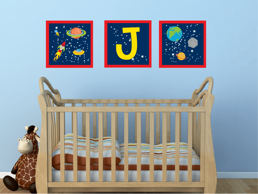Interstellar Art! Monogram Space Children's Wall Decals