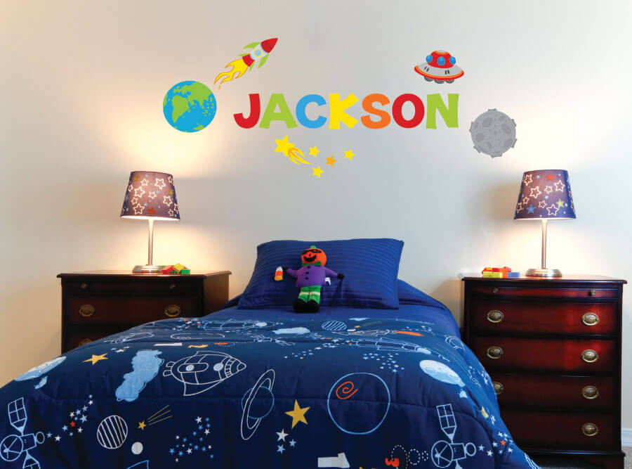 Space Name! Personalized Rocket Ship Wall Decals