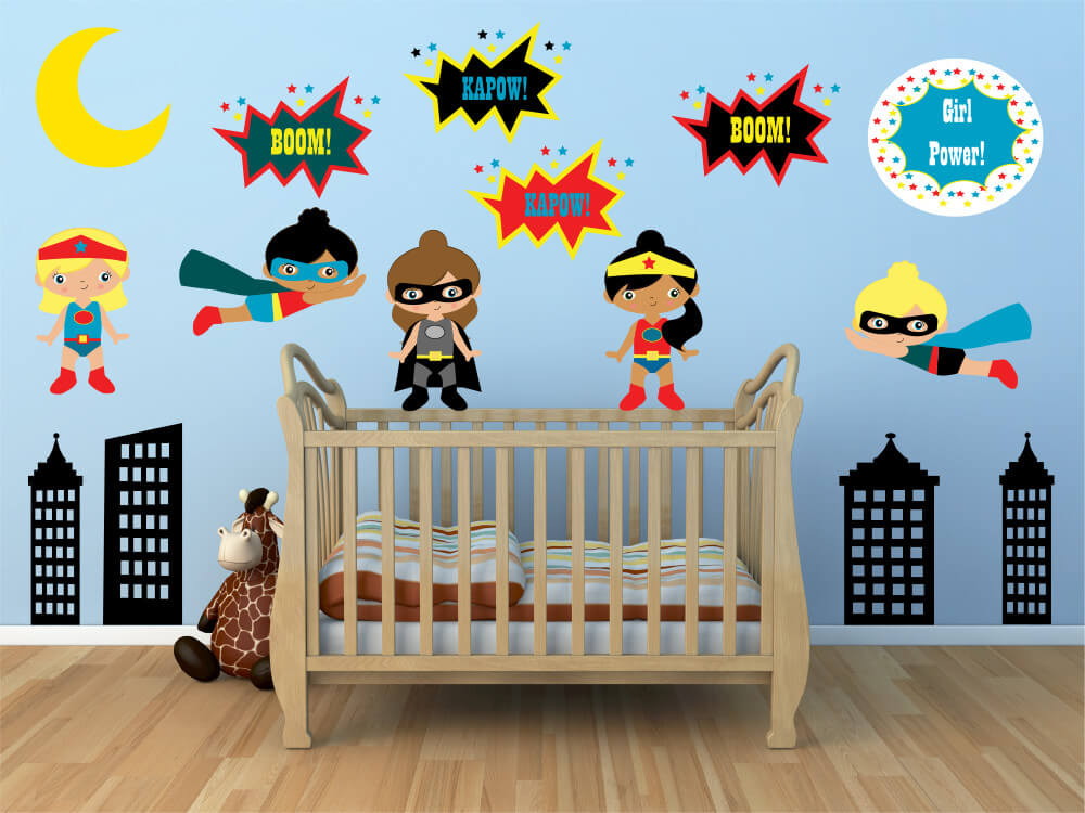 Super Girls! Nursery Wall Stickers for Girls