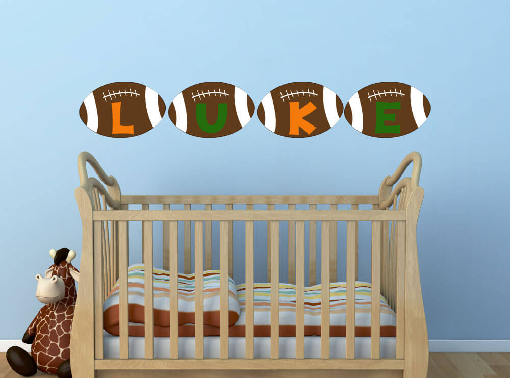 Start 'em Young! Personalized Football Nursery Wall Decals