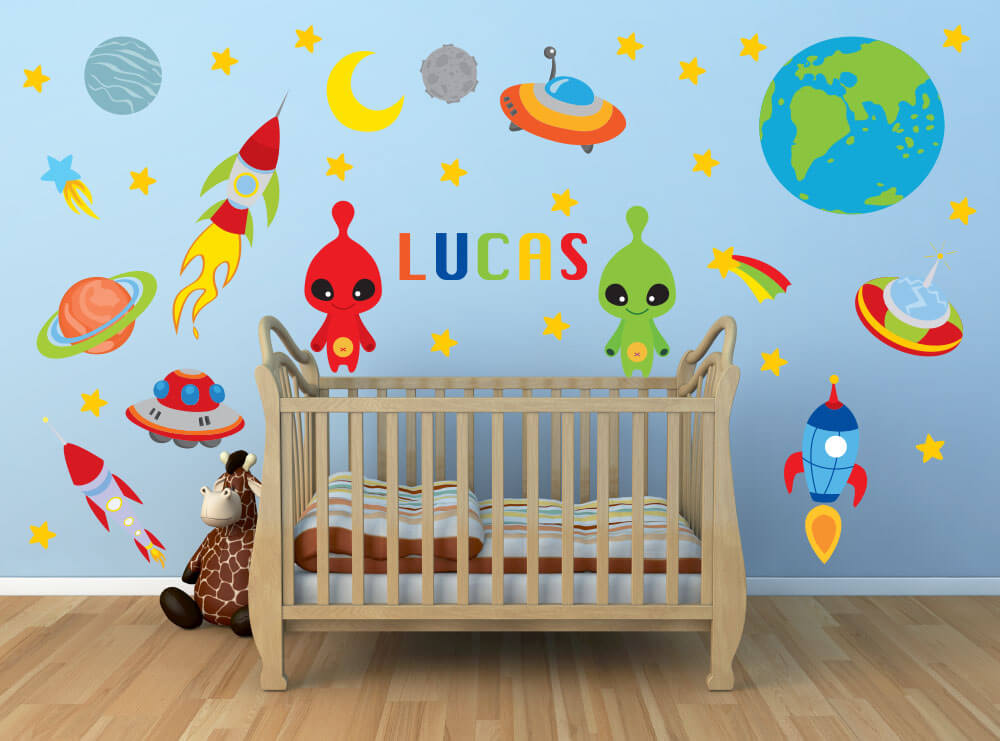 Alien Abduction! Outer Space Nursery Wall Decals