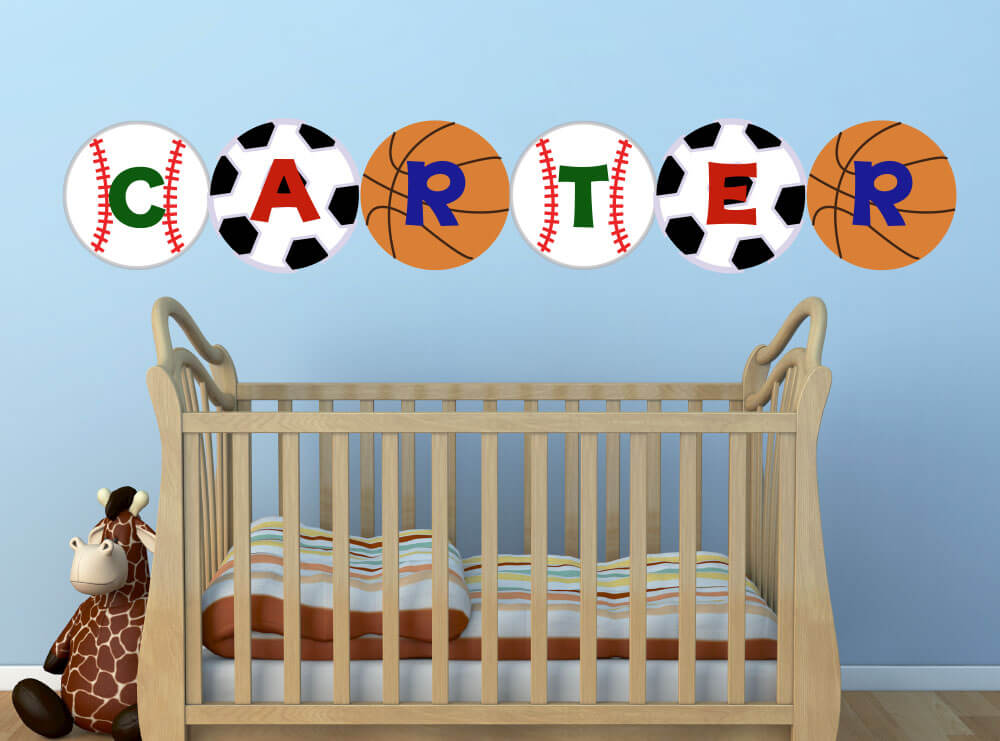 Sports Name! Personalized Nursery Wall Decals