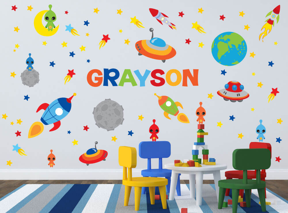 Galaxy Explorers! Rocket Ship Children's Wall Decals