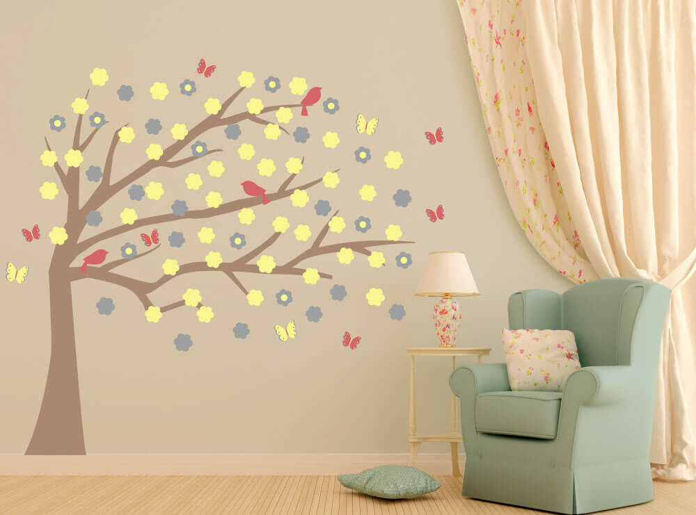 Whimsical Willow Blowing Tree Wall Decals