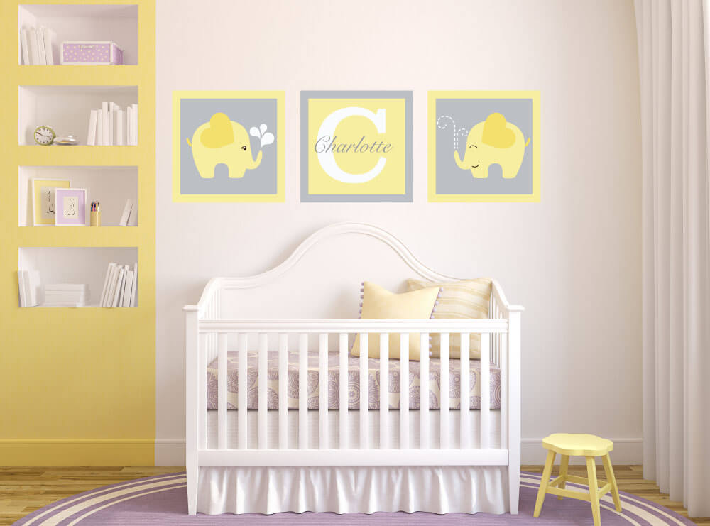 Elephant Monogram Personalized Wall Decals