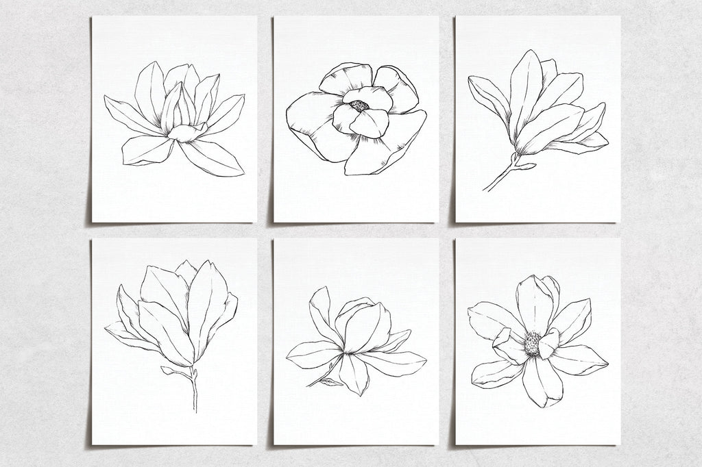 Vintage Magnolia Flower Prints (6) | Minimal Modern Wall Art | Wall Art Decor Prints Hand Drawn | Room Wall Decor | YP-1066