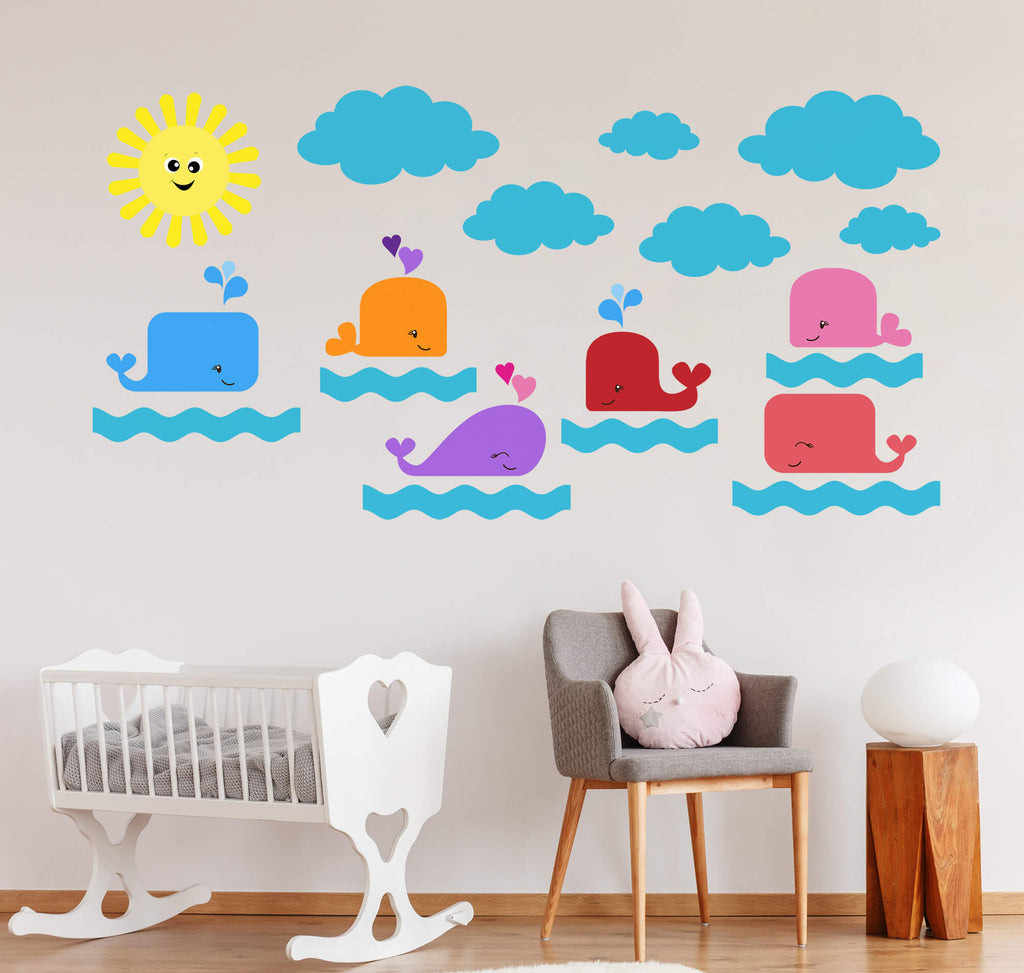 Whale Watching in the Ocean Wall Decals
