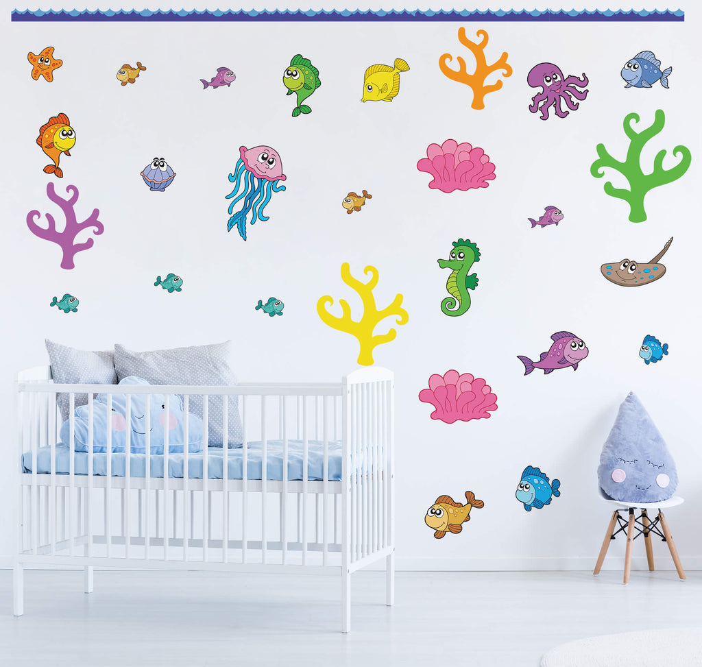 """Under the Sea"" Peel & Stick Boys Nursery Wall Decals"