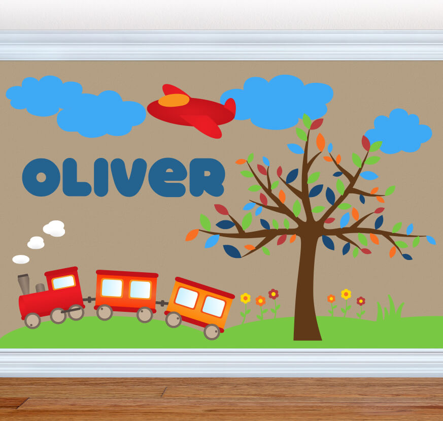 Train Rolling In Transportation Nursery Wall Decals