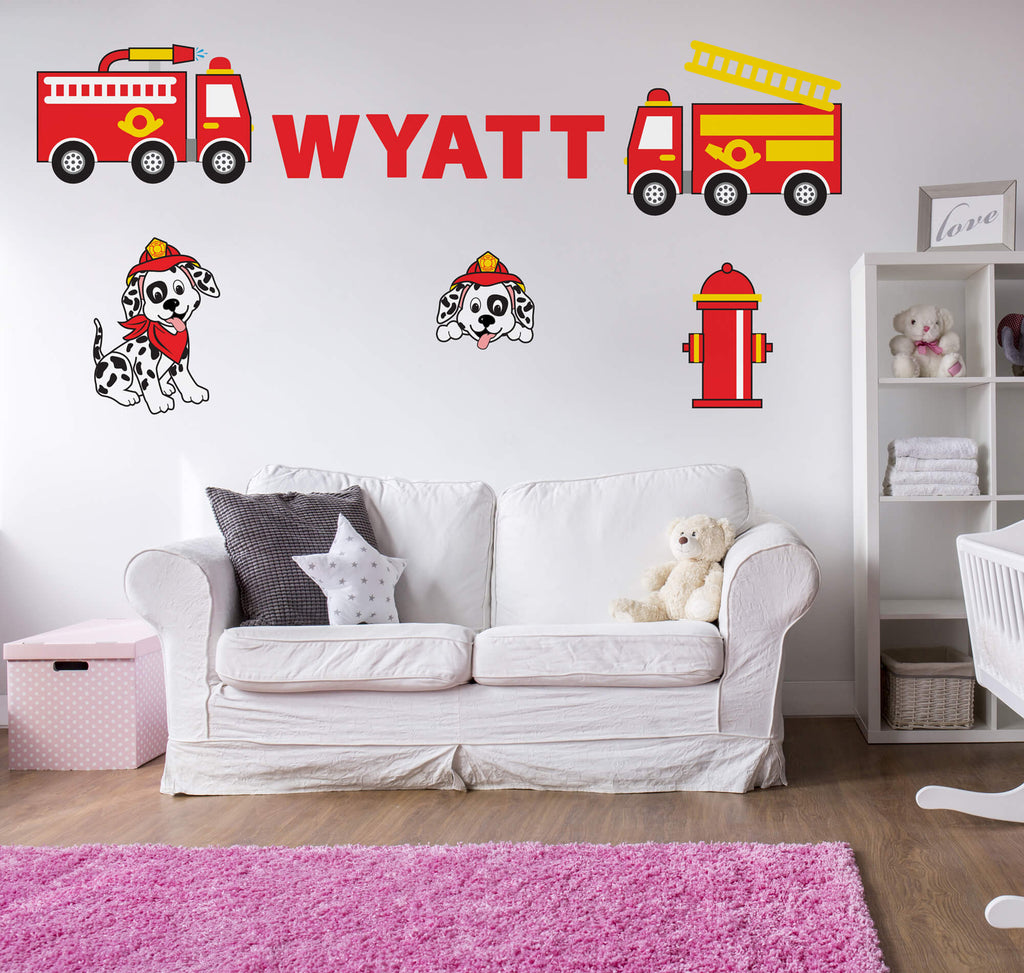 Firefighting Fun! Nursery Truck Wall Decals