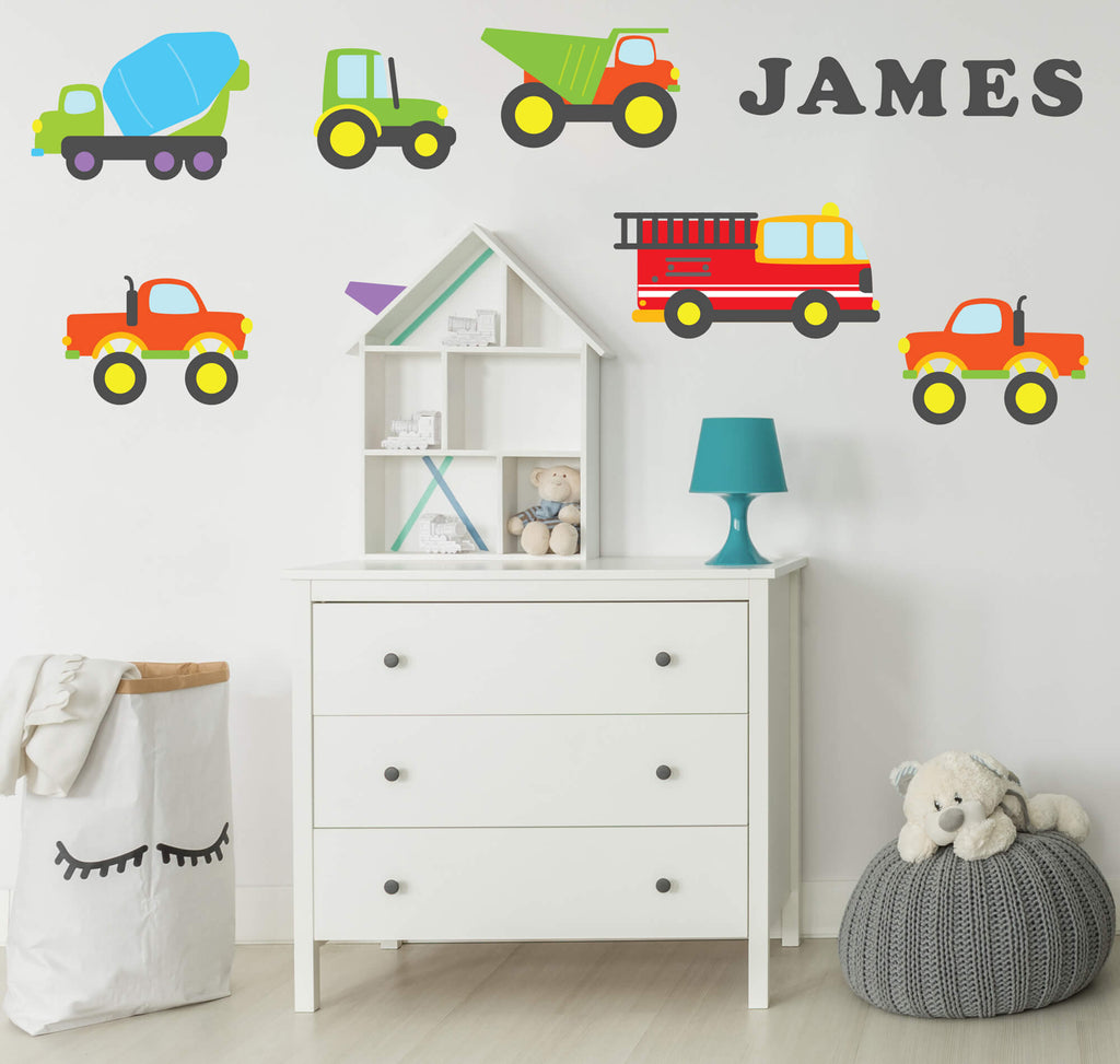 Minimalist Trucks! Transportation Nursery Wall Decals