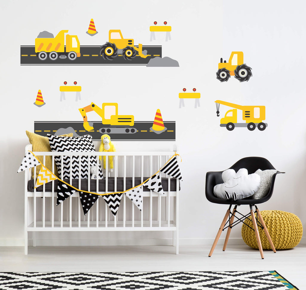 Construction Zone Ahead! Childrens Truck Wall Decals