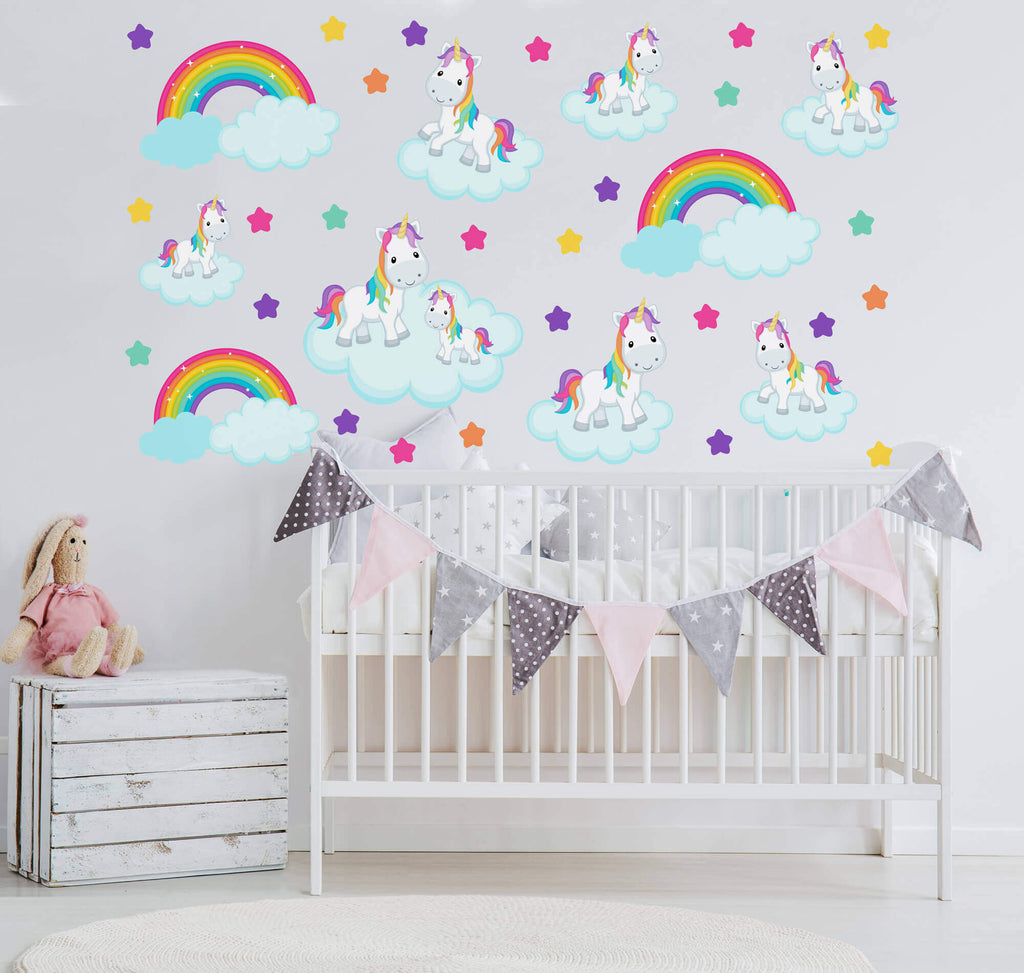 Rainbows and Unicorns! Nursery Animal Wall Decals