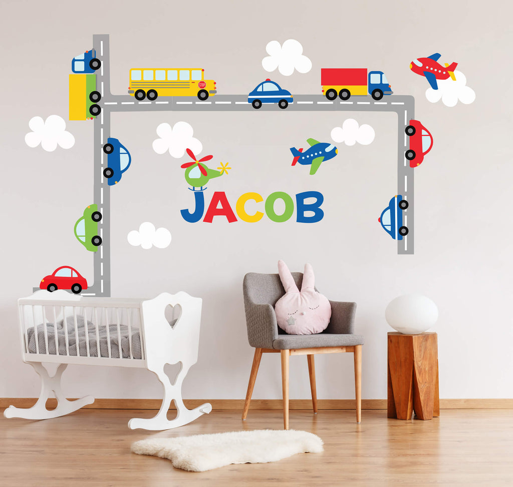 Round and Round We Go! Transportation Wall Decals