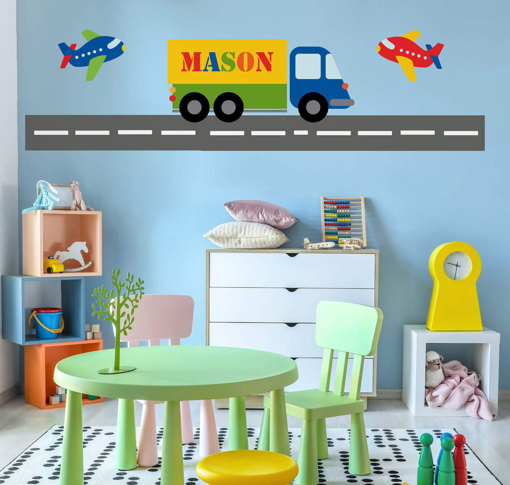 Truck Name! Nursery Wall Decals Stickers
