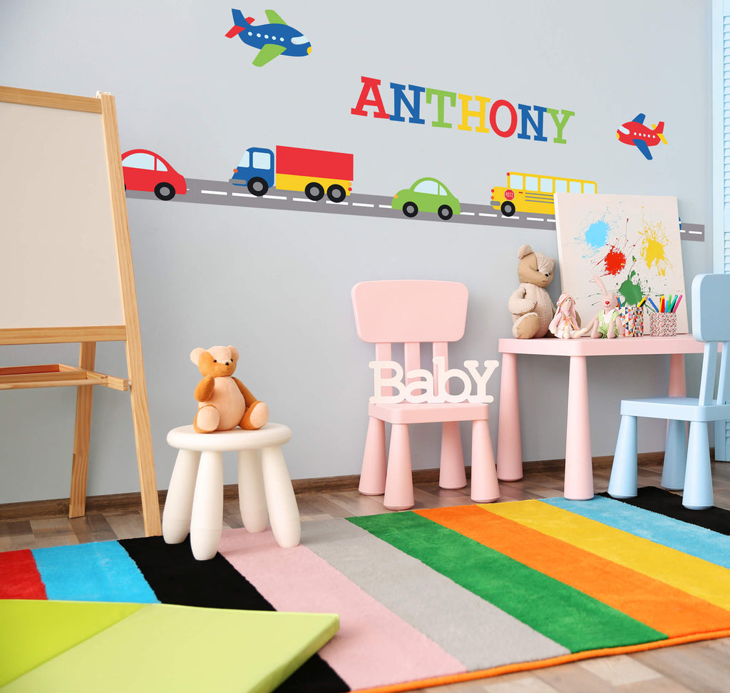 Afternoon Drive! Transportation Nursery Wall Decals