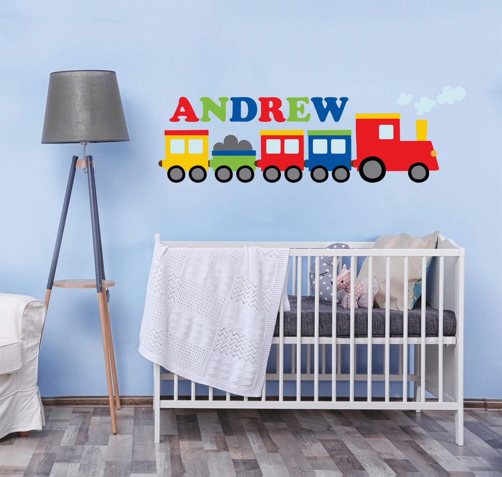Next Stop, Bed! Personalized Train Wall Decals