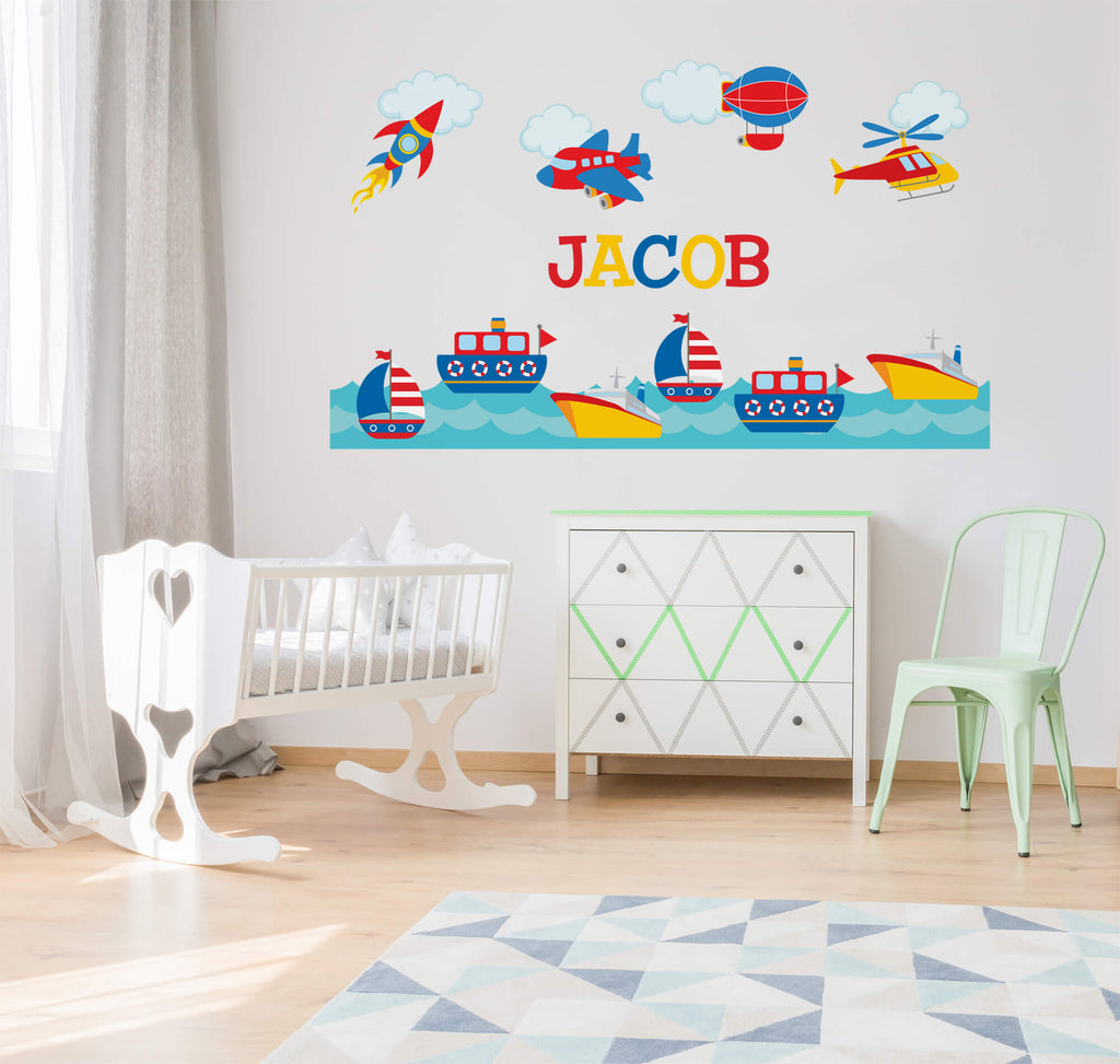 Air and Sea Adventure! Transportation Nursery Wall Decals