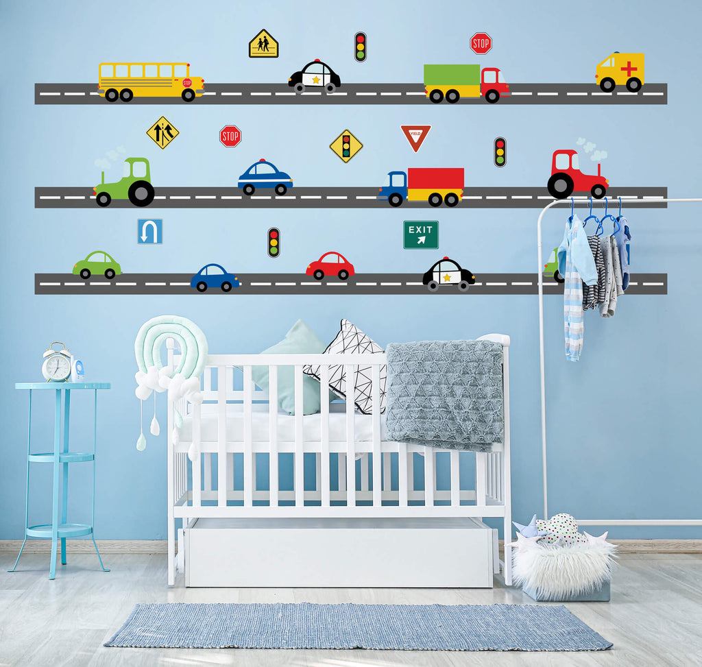 Traffic Ahead! Transportation Nursery Wall Decals